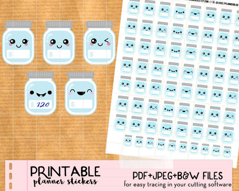 Kawaii Savings Jar / Savings Tracker Stickers - Printable