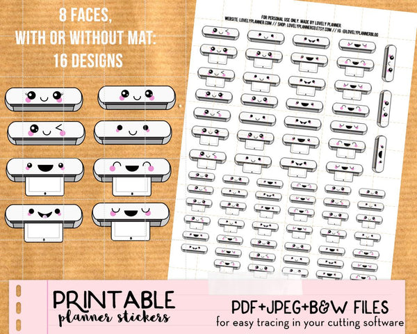 Cute Silhouette Cutting Machine Stickers - Printable