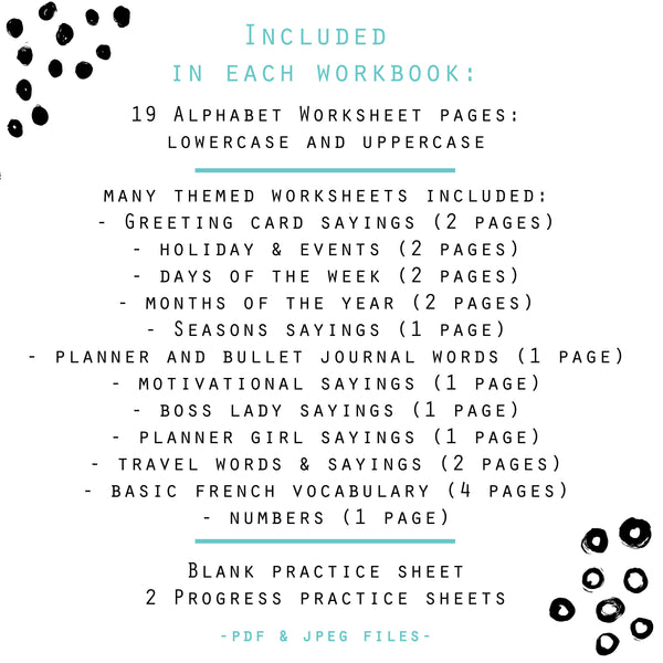 BUNDLE of 5 Lettering Workbooks with 190 Hand Lettering Practice Worksheets - for Print & Procreate