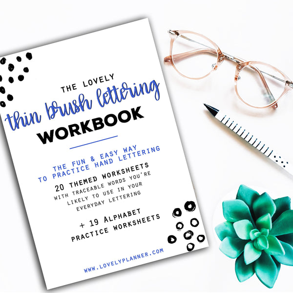 Thin Brush Lettering - 40 Practice Worksheets
