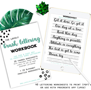 Brush Lettering - 40 Practice Worksheets