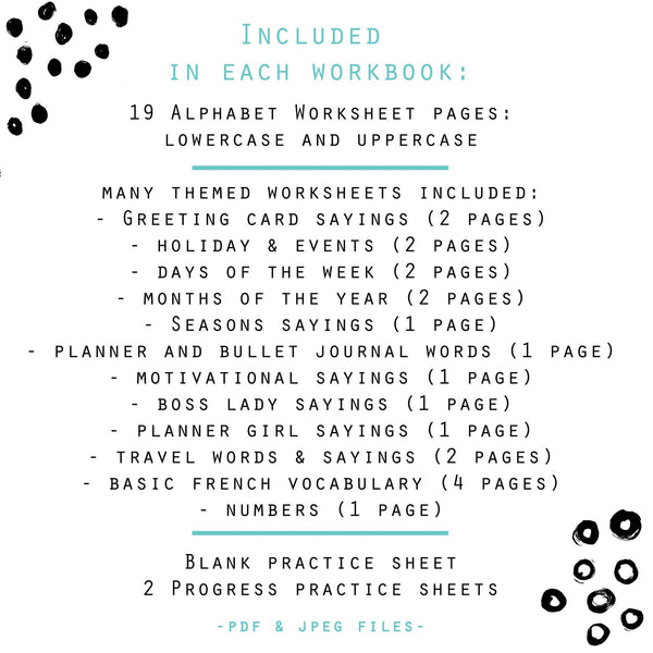 BUNDLE of 5 Lettering Workbooks with 180 Hand Lettering Practice Worksheets - Volume 2 - Procreate & Print, Modern Calligraphy, Ipad