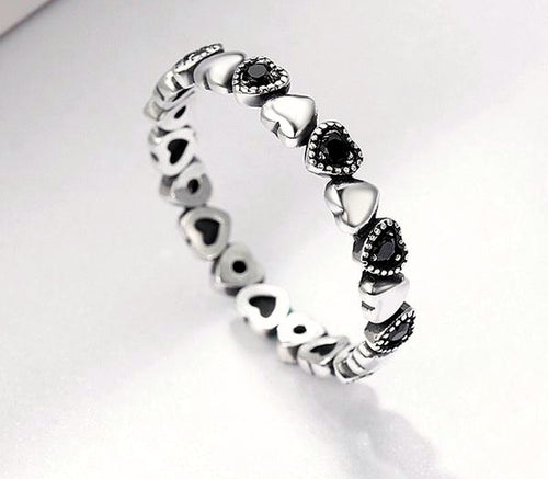 925 Sterling Silver Heart Black Ring