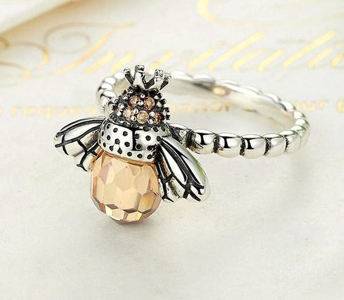 925 Sterling Silver Orange Wing Bee Ring