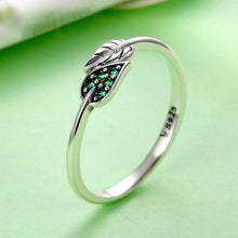 Load image into Gallery viewer, 925 Sterling Silver Dancing Leaves Leaf Green Dazzling Ring