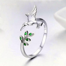 Load image into Gallery viewer, 925 Sterling Silver Bird & Spring Tree Leaves Ring