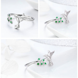 925 Sterling Silver Bird & Spring Tree Leaves Ring