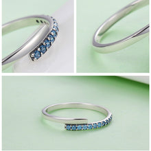 Load image into Gallery viewer, 100% 925 Sterling Silver Geometric Melody Blue Sparking Ring