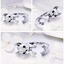 Load image into Gallery viewer, 925 Sterling Silver French Bulldog Ring