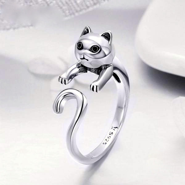 925 Sterling Silver Long Tail Cat Ring