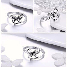 Load image into Gallery viewer, 925 Sterling Silver Vintage Butterfly Ring