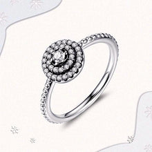 Load image into Gallery viewer, 925 Sterling Silver Round Shape Radiant, Clear CZ Flower Ring