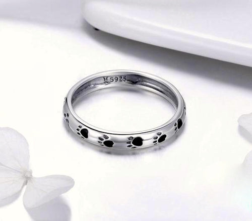 925 Sterling Silver Dog Footprints Ring