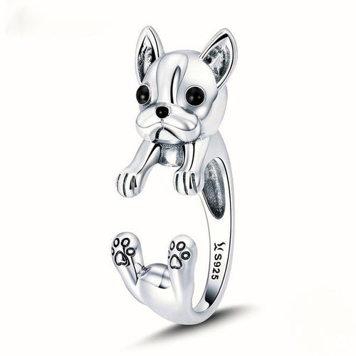 925 Sterling Silver French Bulldog Ring