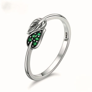 925 Sterling Silver Dancing Leaves Leaf Green Dazzling Ring
