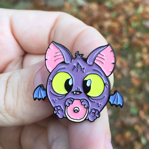 Donut Bat Enameled Metal Pin
