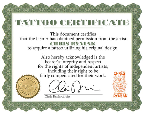 Chris Ryniak Tattoo Certificate