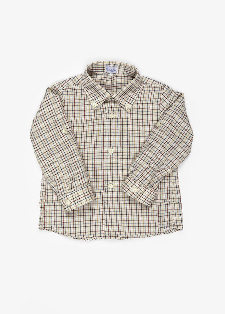 Camisa cuadros mostaza y granate-Only Minis