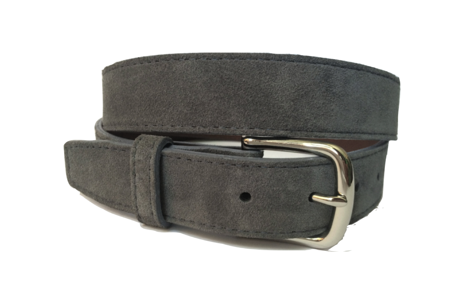 Men S Grey Suede Belts With Contrasting Stitch Beltcraft