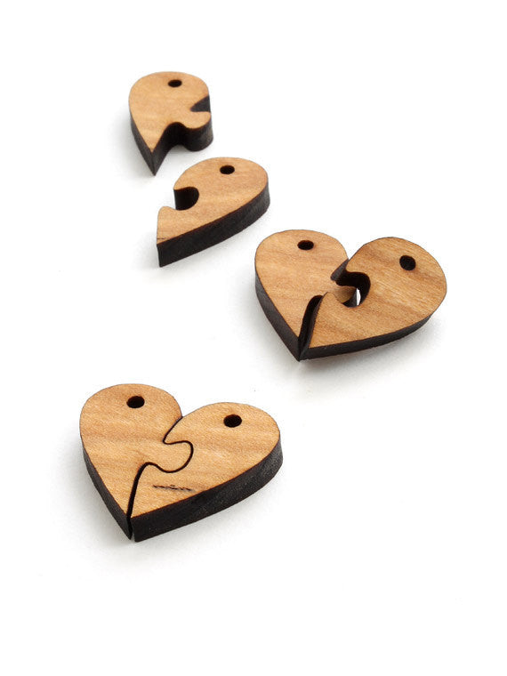 Wood Heart Puzzle Charms