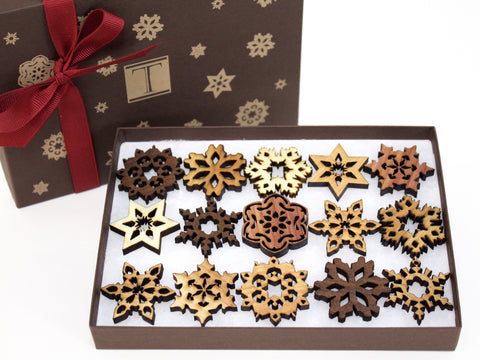 Mini Wood Snowflake Gift Box Set of 15