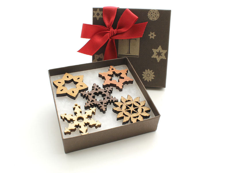 Mini Wood Snowflake Gift Box Set of 5