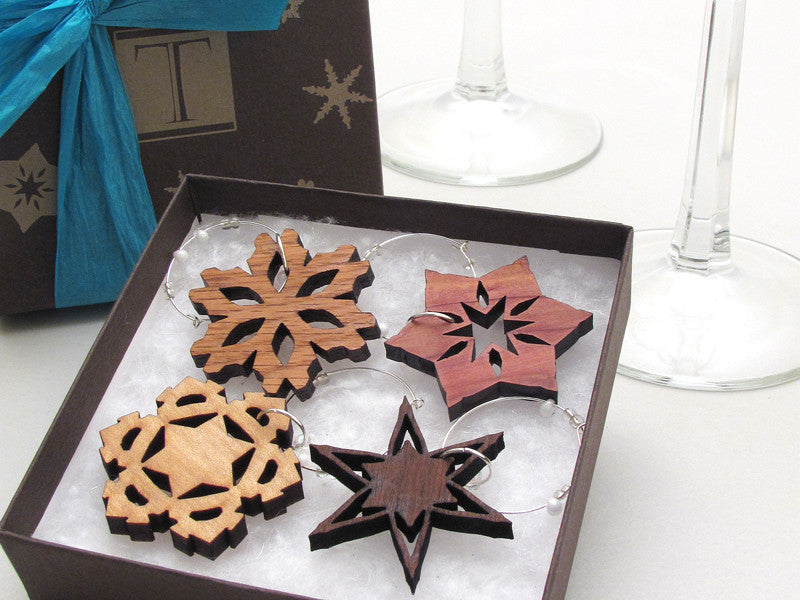 Snowflake Wine Charms Gift Box (set of 4)
