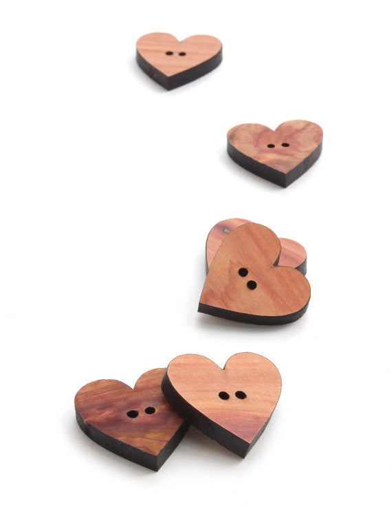 Wood Heart Buttons