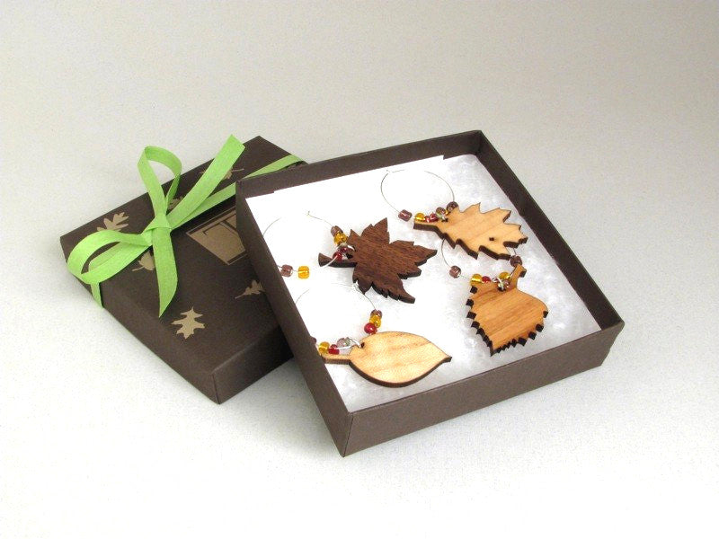 Leaf Wine Charms Gift Box (set of 4)