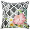 "Tropical Flower Garden Square 18"" Throw Pillow Cover"