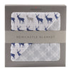Blue Deer and Glacier Grey Plaid Newcastle Blanket