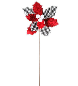 "Red/Plaid Poinsettia Stem 22"" 40628"