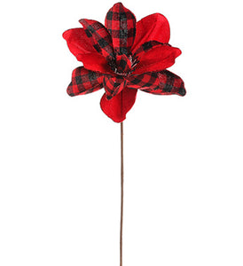 "21.5"" Red/Plaid Magnolia Stem Black/Red 40629"