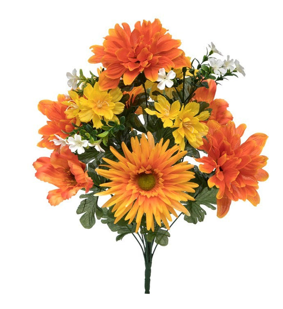Mum, Gerbera Bush 87219 Orange, Yellow, White