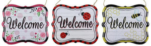 "3 Asst 7""L X 6""H Welcome Tin Sign AP1506 Red/Pnk/Ylw/Grn/Blk/Wht"