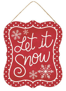 "7""Lx6""H Let It Snow Tin Sign Ap1521 Red/White"