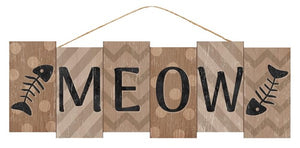 "14""L X 4.75""H Meow Block Sign  AP7031"