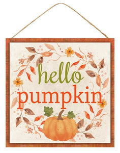 "10""Sq Hello Pumpkin Sign AP7054"