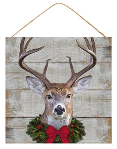 "10""Sq Slat Wood Deer W/Wreath Sign AP7058"