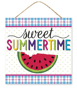 "10""Sq Sweet Summertime Sign WHT/PNK/TURQ/YLW/LIME/PPL AP7080"