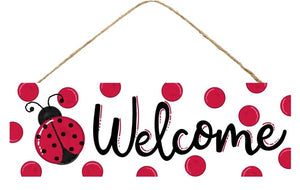 "15""L X 5""H Welcome/Ladybug Sign Ap803027 White/Black/Red"
