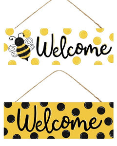 "BUMBLE BEE/DOTS WELCOME SIGN 15""X5"" AP803599"