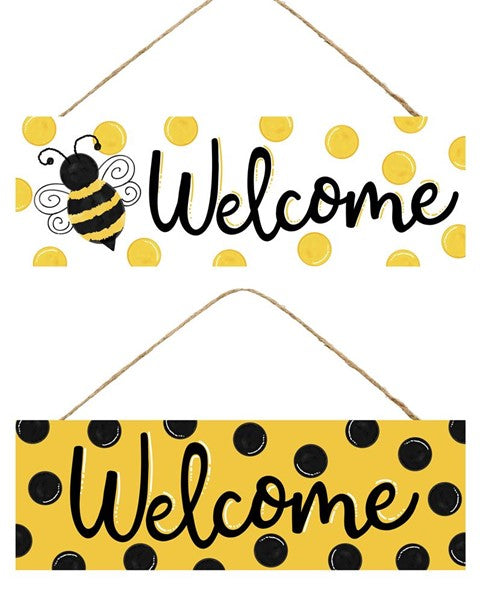Black/yellow DOTS WELCOME Bee SIGN 15