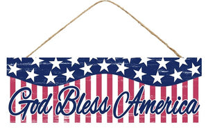 "15""L X 5""H God Bless America Sign Red/White/Blue Ap804936"