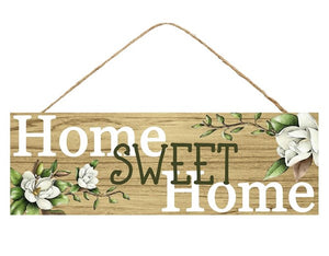 "15""L X 5""H Home Sweet Home Sign Lt Brown/White/Green Ap8064"