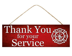 "15""L X 5""H Firefighter Thank You Sign AP806724"