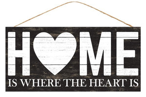 "12.5""L X 6""H Home Is Where The Heart Is Black/White Ap8313"