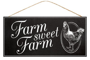 "12.5""L X 6""H Farm Sweet Farm Sign Black/White Ap846402"