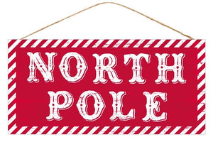 "12.5""L X 6""H North Pole Sign AP8473"