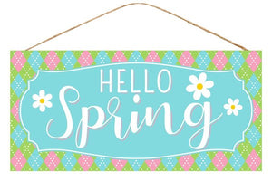 "Hello Spring W/Flower Sign  12.5""L X 6""H AP8494"